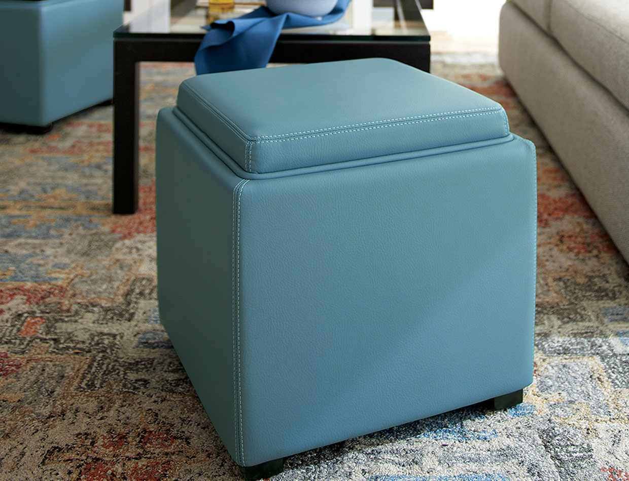 blue leather chair; image used for HSBC Philippines Credit Card crate and barrel offers page