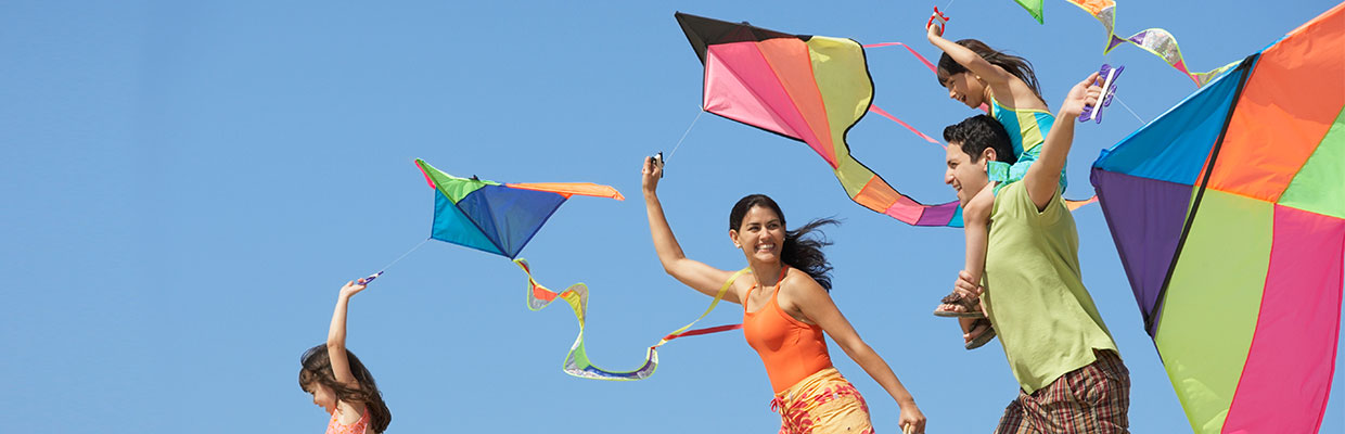Family flying kites; image used for HSBC credit card Free for Life campaign.