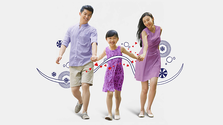 Family holding hands; image used for HSBC Philippines Global Banking page