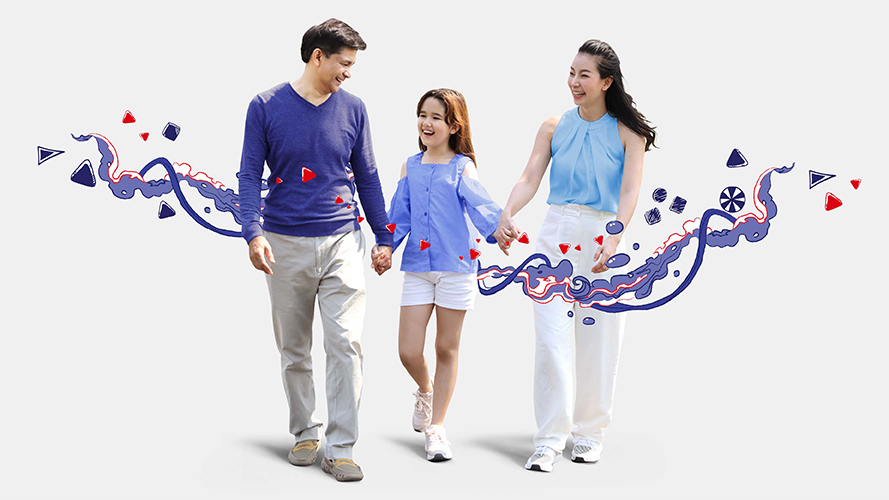 Family walking together; image used for HSBC Philippines Premier Account page