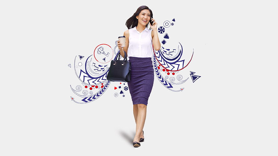Woman on phone; image used for HSBC Philippines Global investment opportunities page